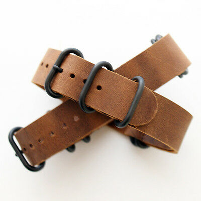 Mid Brown Vintage / Distressed Leather ZULU Watch Strap: 5 Ring PVD (FL118)