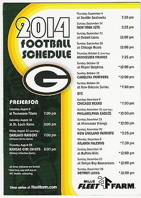 2014 Green Bay Packers Refrigerator magnet Schedule.