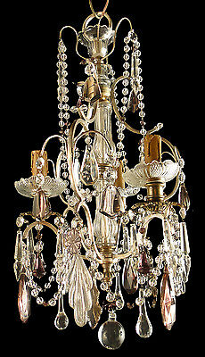Antique french solid silverplated bronze chandelier Decorated crystal platelet