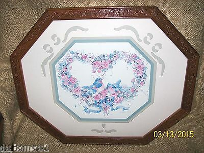 VINTAGE HOME INTERIOR/HOMCO PICTURE BY BARBARA MOCK HEART WREATH W/BLUE BIRDS