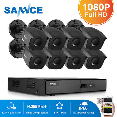 SANNCE 5in1 8CH 1080N HD DVR 1500TVL IR In/Outdoor Cameras CCTV Security System