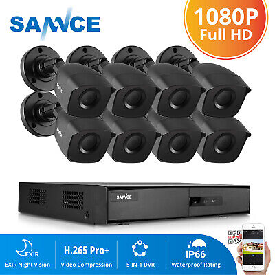 SANNCE 5in1 8CH 1080N HD DVR In/Outdoor IR 1500TVL CCTV Camera Security System