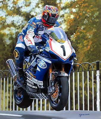 David Jefferies Suzuki 2003 Isle of Man TT Motorcycle Racing Motorbike Art Print