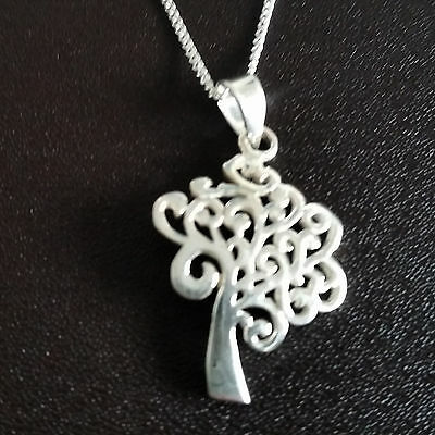 925 Sterling Silver Necklace with fancy tree life pendant gift uk