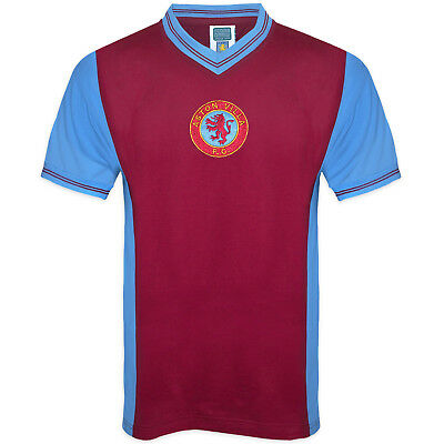 Aston Villa FC Official Football Gift Mens 1982 Retro Home Kit Shirt Claret