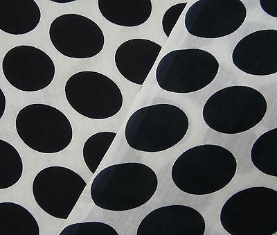 """Polka Dot Fabric White Pure Cotton 45"""" Wide Sewing Quilting Cotton Dress By 1 Yd"""