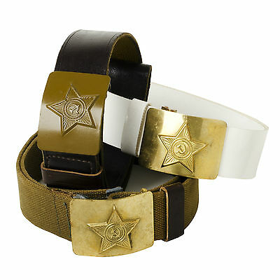 Original Vintage Soviet Union Russian Army Military Issued Belt With Star Buckle