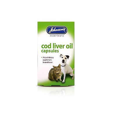 Johnson's Dog Cat Cod Liver Oil 40 Capsules Supplement Healthy Skin Coat Bones