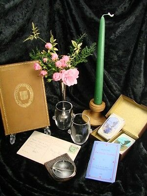 Antique, Interior Display 7 Items Solid Silver Vase, Book, Cards, Candle Holder
