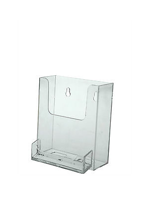 Wall-Mount Brochure Holder with attached Business Card Holder Clear Acrylic