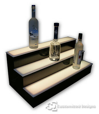 "32"" 3 Tier Back Bar Shelving, Lighted Bottle Display Shelves, LED Lighting"