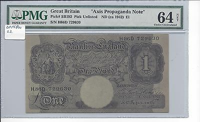 Great Britain 1 Pound Schwan Boling 192 Axis Propaganda Note PMG 64 net CH> UNC