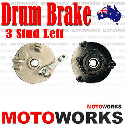 LEFT 3 Stud Drum Brake Housing Wheel Hub + Shoes FOR ATV QUAD Bike Gokart Buggy