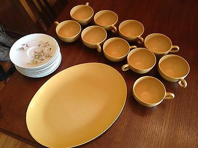 Lot of Melmac OD Oneida - Brown Platter, Daisy Saucers & Brown/Yellow Cups - VTG