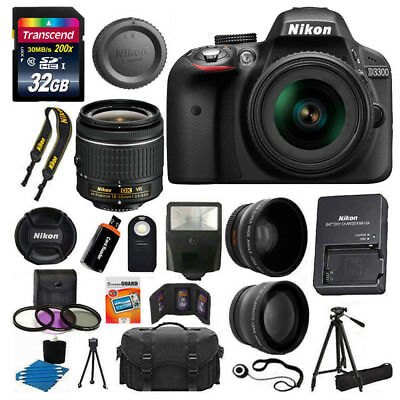 Nikon D3300 Digital SLR Camera +3 Lens 18-55 VR Lens Kit +32GB +More Top Value