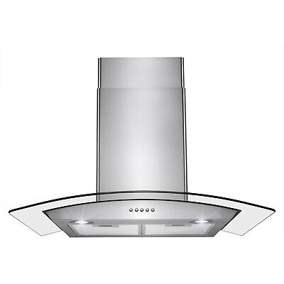 """30"""" Push Control Vent Fan Stainless Steel Wall Mount Kitchen Cooking Range Hood"""