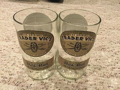 Trader Vic's Dark Rum Recycled Bottle Glass Tumbler Set Of 2