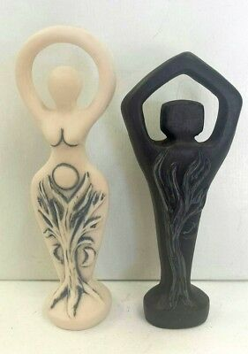 Black Spiral Lord White Spiral Goddess Miniature Pagan Statuette Set #BMSLMS