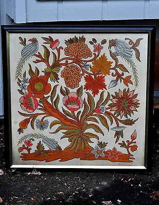 Antique Crewelwork Panel19th century Framed