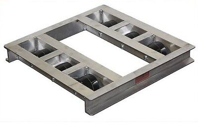 """Flat Aluminum Pallet Dollie 48"""" x 36"""" -- 8 Rollers 6,000# Cap **FREE SHIPPING**"""