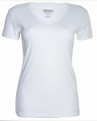 Kirkland Women White Green Sizes L and XL Pima Cotton T-shirts. Scoop and V-neck