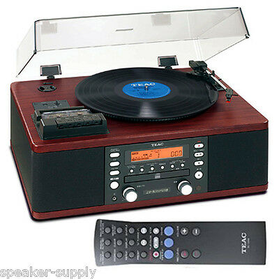 Teac Cassette Stereo Auxilliary Turntable CD Recorder Record Walnut LP-R550USB