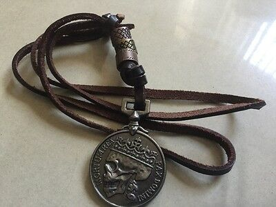 Beautiful Skull Silver Coin Rock Punk Alloy Unisex Leather Necklace