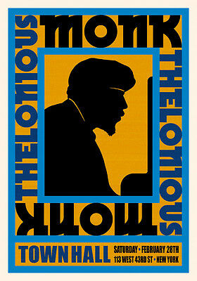 1950's Jazz Piano Great: Thelonious Monk at New York Concert Poster 1959