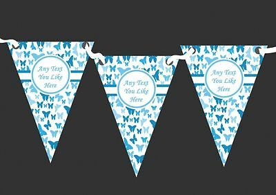 Beautiful Sky Blue Butterfly Personalised Shabby Chic Garden Tea Party Bunting