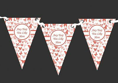 Beautiful Coral Butterfly Personalised Shabby Chic Garden Tea Party Bunting