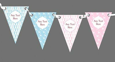 Blue Pink Boy And Girl Personalised Christening Baptism Bunting