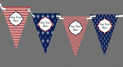 White Blue Red Nautical Sea Anchor Chevron Personalised Birthday Party Bunting