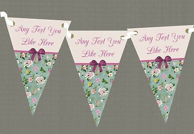 Vintage Shabby Chic Purple Bow Personalised Wedding Anniversary Party Bunting
