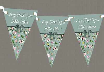 Vintage Shabby Chic Green Bow Personalised Wedding Anniversary Party Bunting