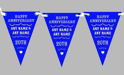 Vintage Text Any Year Royal Blue Personalised Wedding Anniversary Party Bunting