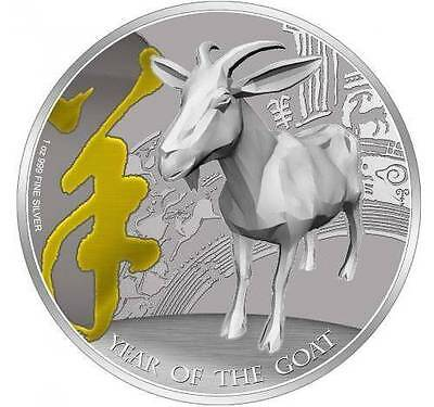 Pitcairn Islands 2015 $2 Lunar Year of the Goat 1Oz Silver Coin Gilded