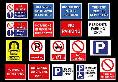 PARKING SIGN VARIOUS TYPES A5 SIZE - Waterproof Vinyl Sticker