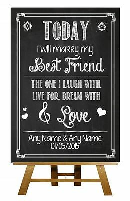 Chalkboard Today I Marry My Best Friend Love Vows Vintage Wedding Sign