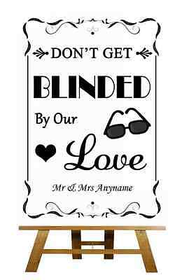 Black And White Sunglasses Favor Blinded By Love Personalised Wedding Sign