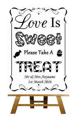 Black And White Sweet Treat Candy Buffet Personalised Wedding Sign / Poster