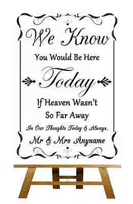 Black And White Up In Heaven Personalised Wedding Sign / Poster