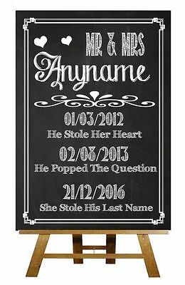 Chalkboard Important Dates Vintage Personalised Wedding Sign / Poster