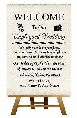 Shabby Chic Unplugged No Cameras No Phones Personalised Wedding Sign / Poster