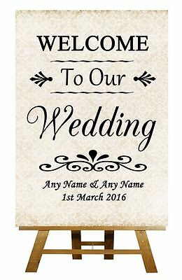 Shabby Chic Welcome To Our Wedding Personalised Wedding Sign / Poster