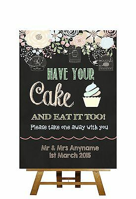Shabby Chic Pretty Chalkboard Style Take A Cup Cake Personalised Wedding Sign