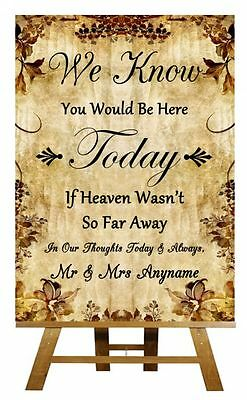 Autumn Vintage In Loving Memory Absence Personalised Wedding Sign / Poster