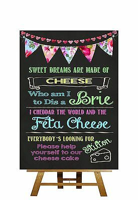 Bright Chalkboard Style Cheese Cake Song Personalised Wedding Sign