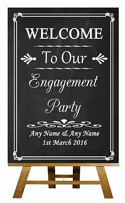 Chalkboard Welcome To Our Engagement Party Personalised Wedding Sign / Poster