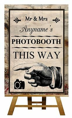 Vintage Chic Photo Booth Pointing Left Personalised Wedding Sign / Poster