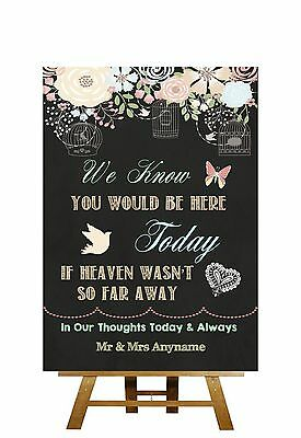 Pretty Chalkboard Style Absent Loved Ones In Heaven Personalised Wedding Sign